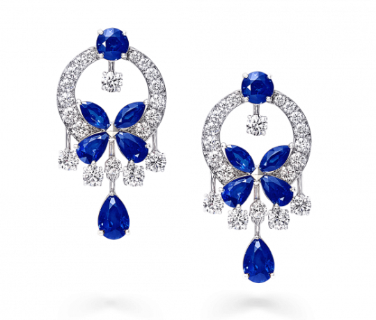 Graff Classic Butterfly Earrings Sapphire and Diamond
